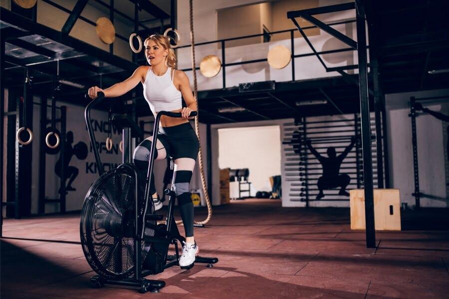 air bike woman